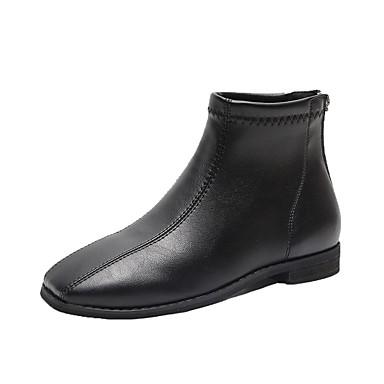voordelige Dameslaarzen-Dames Laarzen Platte hak Vierkante Teen PU Kuitlaarzen minimalisme Herfst Zwart / Donker Bruin