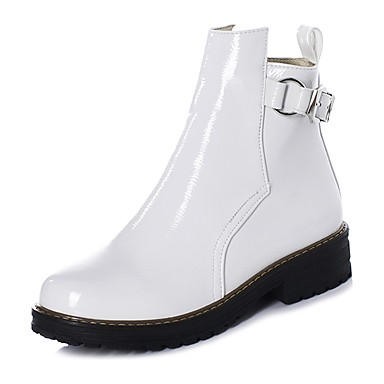 voordelige Dameslaarzen-Dames Laarzen Blokhak Ronde Teen Lakleer Korte laarsjes / Enkellaarsjes Informeel / minimalisme Winter Zwart / Wit / Blauw