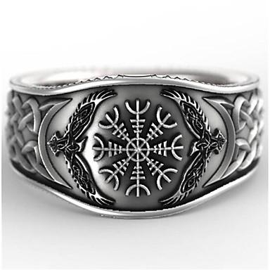 voordelige Herensieraden-Heren Ring 1pc Zilver Geometrische vorm Vintage Dagelijks Feestdagen Sieraden meetkundig Bloem Cool