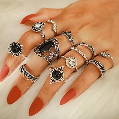 voordelige Dames Sieraden-Dames Ring Ring Set 12st Zilver Strass Legering Onregelmatig Vintage modieus Modieus Dagelijks Straat Sieraden Vintagestijl Kroon Peer
