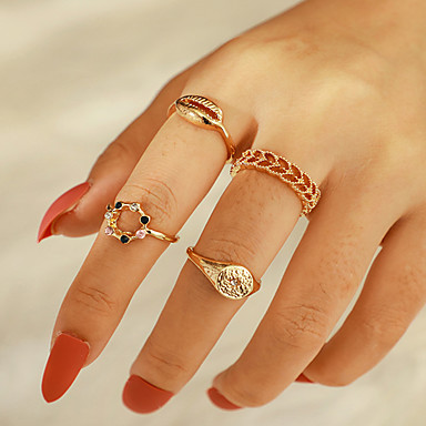 voordelige Dames Sieraden-Dames Ring Ring Set 4pcs Goud Strass Legering Onregelmatig Klassiek Vintage modieus Lahja Dagelijks Sieraden Cut Out Schelp