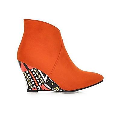 voordelige Dameslaarzen-Dames Laarzen Sleehak Gepuntte Teen PU Korte laarsjes / Enkellaarsjes Herfst winter Zwart / Paars / Oranje