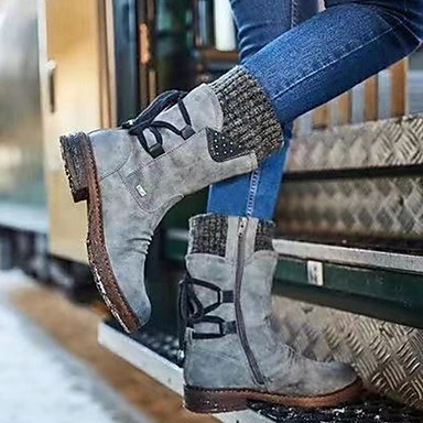 voordelige Dameslaarzen-Dames Laarzen Platte hak Ronde Teen PU Kuitlaarzen Herfst winter Paars / Geel / Blauw
