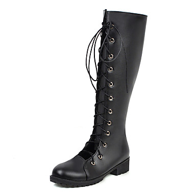 voordelige Dameslaarzen-Dames Laarzen Blokhak Ronde Teen PU Herfst winter Zwart / Rood