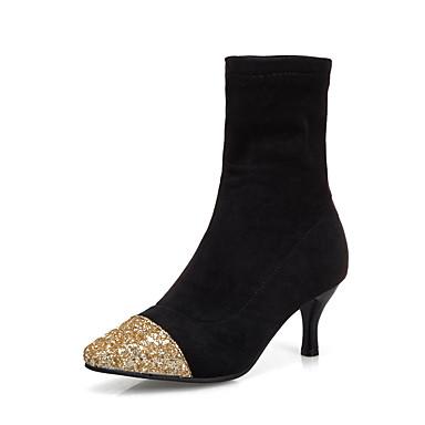 voordelige Dameslaarzen-Dames Laarzen Naaldhak Vierkante Teen PU Kuitlaarzen Informeel / Brits Herfst winter Goud / Zilver / Feesten & Uitgaan
