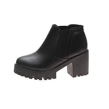 voordelige Dameslaarzen-Dames Laarzen Blokhak Ronde Teen PU Korte laarsjes / Enkellaarsjes minimalisme Herfst Zwart