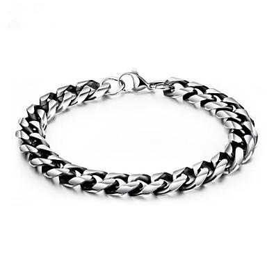 voordelige Herensieraden-Heren Armbanden met ketting en sluiting meetkundig Bloem Modieus Titanium Staal Armband sieraden Zilver Voor Lahja Dagelijks