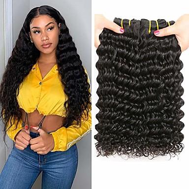 povoljno Perike i ekstenzije-3 paketa Brazilska kosa Duboko Val Virgin kosa Ljudske kose plete 8-28 inch Isprepliće ljudske kose Proširenja ljudske kose / 10A