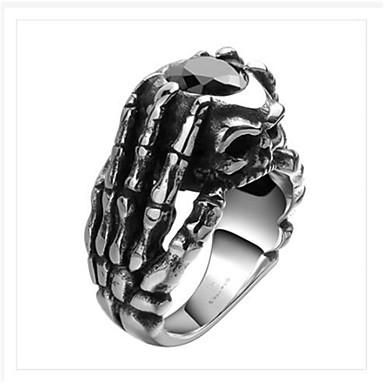 voordelige Herensieraden-Heren Ring Kubieke Zirkonia 1pc Zilver Titanium Staal Geometrische vorm Modieus Feest Dagelijks Sieraden meetkundig Schedel Cool