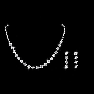 voordelige Dames Sieraden-Dames Ketting Oorbel Tennis ketting Eenvoudig Koreaans Zoet Modieus Elegant Gesimuleerde diamant oorbellen Sieraden Zilver Voor Feest Verloving Lahja Dagelijks Feestdagen 1 set