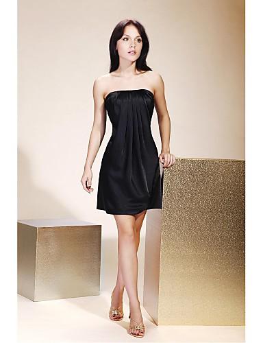 118103436ebb Βραδινή τουαλέτα Στράπλες Κοντό   Μίνι Σαρμέζ Μικρό Μαύρο Φόρεμα Κοκτέιλ  Πάρτι Φόρεμα με Που καλύπτει