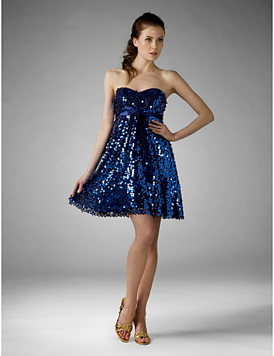 A-Line Princess Fit & Flare Strapless Sweetheart Short / Mini Sequined Cocktail Party Homecoming Holiday Sweet 16 Dress with Sequin Bow(s)