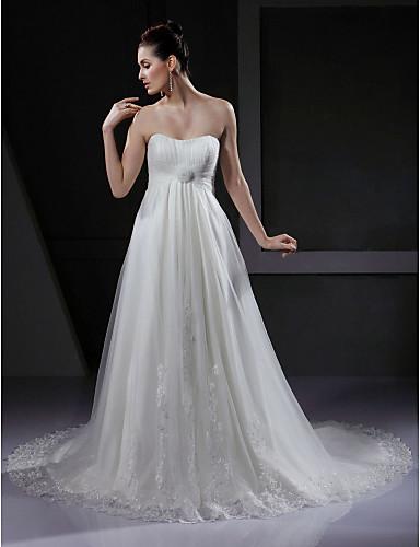 A-Linie Sweetheart Hof Schleppe Tüll Benutzerdefinierte Brautkleider mit Applikationen Drapiert Blume durch LAN TING BRIDE®