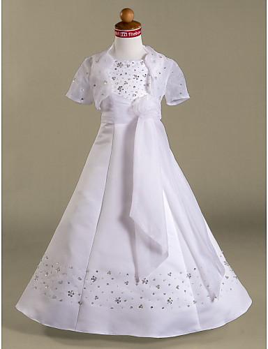 A-line printesa podea lungime floare fată rochie - satin mâneci scurte spaghete curele de lan ting bride®