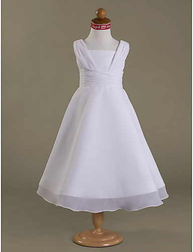 A-Line Princess Tea Length Flower Girl Dress - Chiffon Satin Sleeveless Square Neck with Ruched Ruffles Side Draping by LAN TING BRIDE®