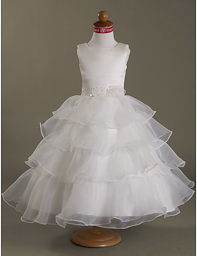 A-Line Ball Gown Princess Tea Length Flower Girl Dress - Satin Sleeveless Square Neck by LAN TING BRIDE®
