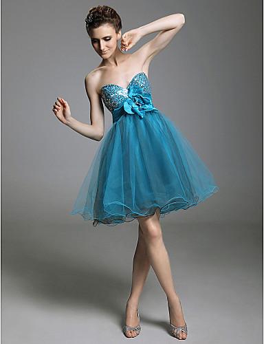 Linha A Princesa Justo & Evasê Sem Alças Decote Princesa Curto / Mini Tule Paetês Coquetel / Reunião de Classe / Baile de Formatura /