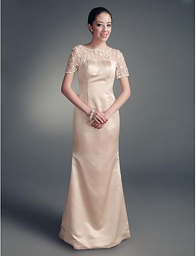 Ίσια Γραμμή Με Κόσμημα Μακρύ Σατέν Φόρεμα Μητέρας της Νύφης με Χάντρες / Δαντέλα με LAN TING BRIDE® / Εσάρπα περιλαμβάνεται