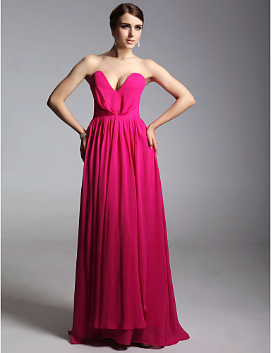 Sheath / Column V Neck Strapless Floor Length Chiffon Prom Formal Evening Military Ball Dress with Pleats by TS Couture®