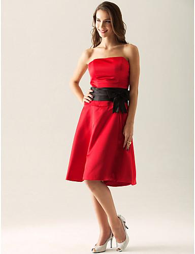 A-Linie Princess Bez ramínek Ke kolenům Satén Šaty pro družičky s Mašle Šerpa / Stuha podle LAN TING BRIDE®