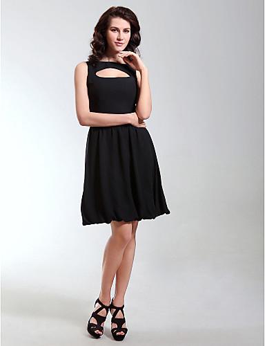 48f12d927d9 Plesové šaty Úzký výstřih   Bateau Neck Ke kolenům Šifón Malé černé šaty    Styl celebrit