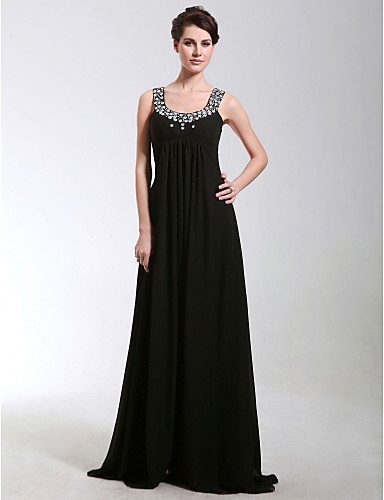 Sheath / Column Scoop Neck Floor Length Chiffon Formal Evening / Military Ball Dress with Beading / Crystals by TS Couture®