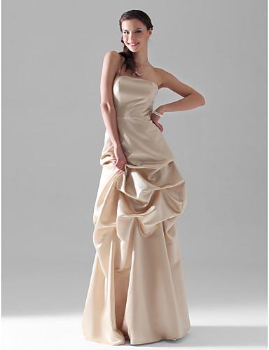 6c0ceefb838 A-linje axelbandslös golv längd satin brudtärna / bröllopsfest klänning med  pick-ups kjol