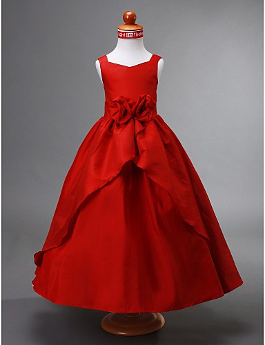 Balo Abiyesi V Yaka Bilek Boyu Tafta Drape Çiçekli Ayrık Ön ile Çiçekçi Kız Elbisesi tarafından LAN TING BRIDE®