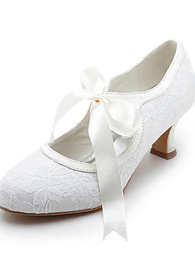 abordables Déstockage Chaussures-Femme Talon Bobine Ruban / Dentelle Satin / Satin Elastique Mary Jane Printemps / Eté Blanc / Ivoire / Mariage / EU42