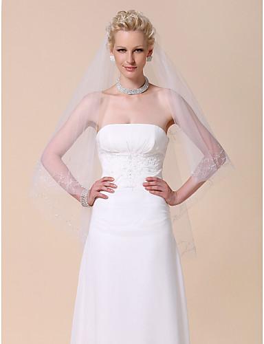 Two-tier Fingertip Wedding Veil With Beaded Edge