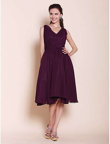 A-Line Princess V Neck Knee Length Chiffon Bridesmaid Dress with Bow(s) Draping Ruching by LAN TING BRIDE®
