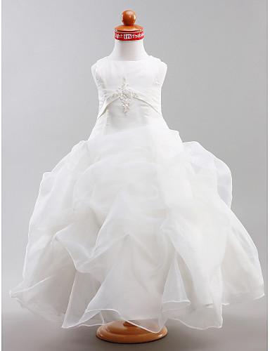 Plesové šaty Na zem Šaty pro květinovou družičku - Satén Bez rukávů Klenot s Aplikace Nabíraná sukně Šerpa / Stuha podle LAN TING BRIDE®