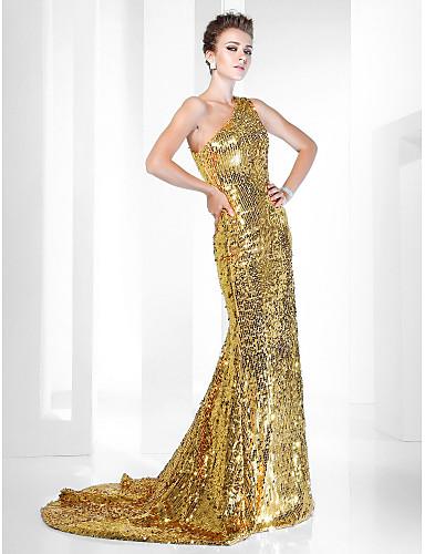 A sirena Monospalla Strascico a terra Con strass Serata formale Vestito con Lustrini di TS Couture®