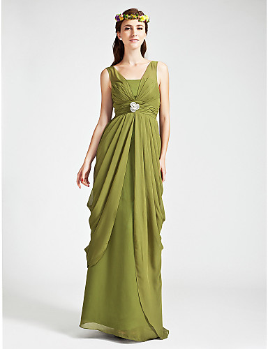 Sheath / Column V Neck Straps Floor Length Chiffon Bridesmaid Dress with Crystal Detailing Draping Ruched by LAN TING BRIDE®
