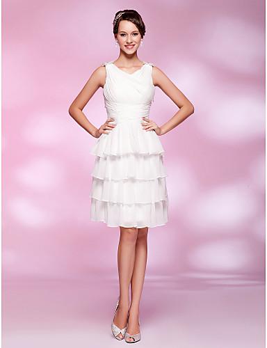 Γραμμή Α Λαιμόκοψη V Μέχρι το γόνατο Σιφόν / Ελαστικό Σατέν Στυλ Διασήμων Κοκτέιλ Πάρτι / Χοροεσπερίδα Φόρεμα με Χάντρες / Που καλύπτει με TS Couture®