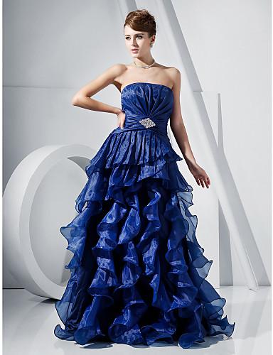 1234bda01 Corte en A Princesa Sin Tirantes Hasta el Suelo Organza Satén Fiesta de  baile Evento Formal