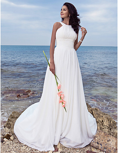 cheap Wedding Dresses-A-Line Jewel Neck Sweep / Brush Train Chiffon Made-To-Measure Wedding Dresses with Draping / Ruched by LAN TING BRIDE® / Beach / Destination / Little White Dress