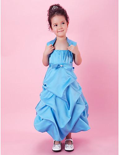 A-line Ballkleid Tee Länge Blume Mädchen Kleid - Satin ärmellose Spaghetti-Trägern mit drapieren von lan ting bride ®