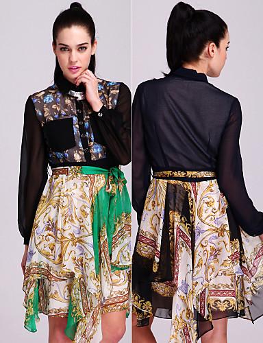 ts stile barocco abito camicia in chiffon stampato (più colori)