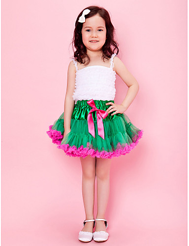 Green Girl Skirt With Bow And Lining