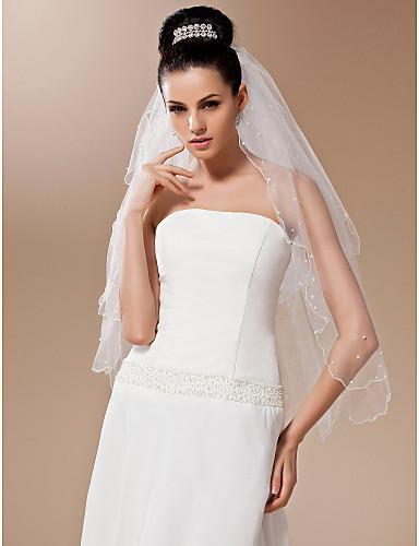 Wedding Veil Two-tier Fingertip Veils Pearl Trim Edge 27.56 in (70cm) Tulle White / IvoryA-line, Ball Gown, Princess, Sheath/ Column,