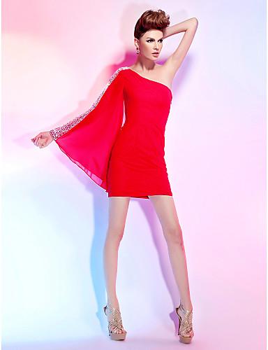 Tube / kolonne Etskuldret Kort / mini Chiffon Cocktailparty Kjole med Krystaldetaljering ved TS Couture®