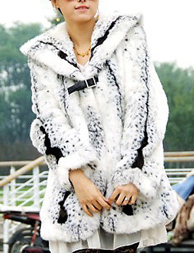 Long Sleeve Turndown Collar Evening/ Career Faux Fur Coat With Pockets (More Colors)