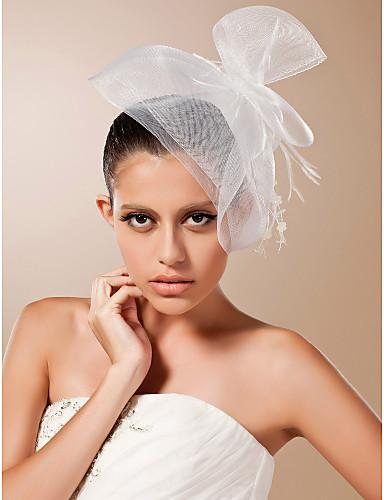 Un nivel Margine Tăiată Voal de Nuntă Voaluri de Obraz Birdcage Veils Cu Pene Tulle