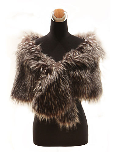 Elegant Long-Haired Faux Fur Fox Fur Special Occasion Shawl (More Colors)