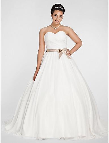 Ball Gown Sweetheart Chapel Train Chiffon Plus Size Wedding Dress by LAN TING BRIDE®