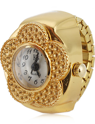 cheap Floral Watches-Women's Ring Watch Japanese Quartz Gold Casual Watch Analog Ladies Flower Fashion