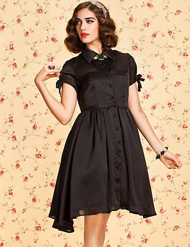 ts Vintage 1950 streep kraag swing jurk