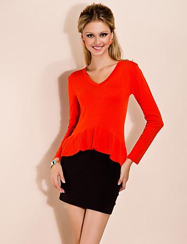 TS V Neck Flounces Hem Cashmere Shirt(More Colors)