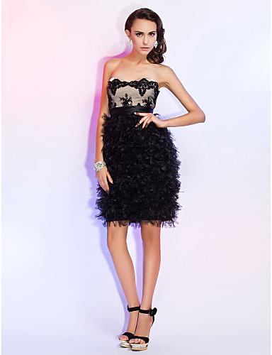 Kappe / kolonne stropløs kæreste kort / mini blonde tyl bryllupsfesten kjole med applikationer af ts couture®